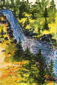 Original painting of a waterfall and quiet pools between which represent the emotions of calling in hospice