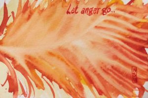 "Original painting of a red leaf with the quote ""Let Anger Go..."""