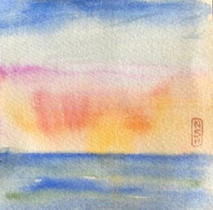 Original painting of a sunrise over the water I hope we'll see on our hospice supported vacation