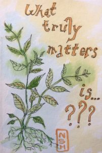 "Original painting about Caregiver Quality of Life and quote ""What matters is?"""