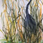 Original painting of Blue Heron standing still in the reeds