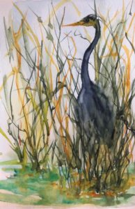 Original painting of Blue Heron in suspended animation in the reeds