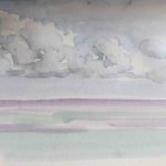 Original painting of ocean and clouds painted on our caregiver vacation