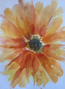 Original painting of a yellow and orange sunflower