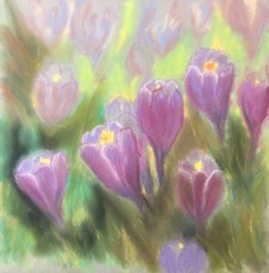 Original painting of purple crocuses, painted while waiting to go back in hospice