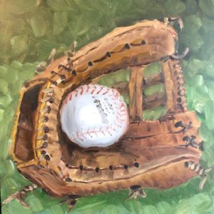 Original painting of softball glove -