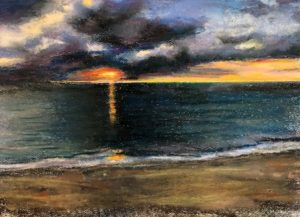 Dark sunset painting of the weight of caregiver recovery