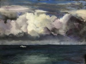 Original pastel by the author of light through the clouds, the feeling of resilience and grief.