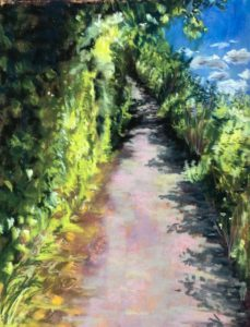 Original Pastel Painting of Walking through Light and Dark or grieving in the neutral zone
