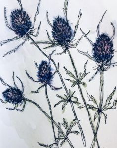 Original painting of Thistle Flowers