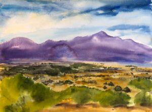 Mountains of Santa Fe in purple